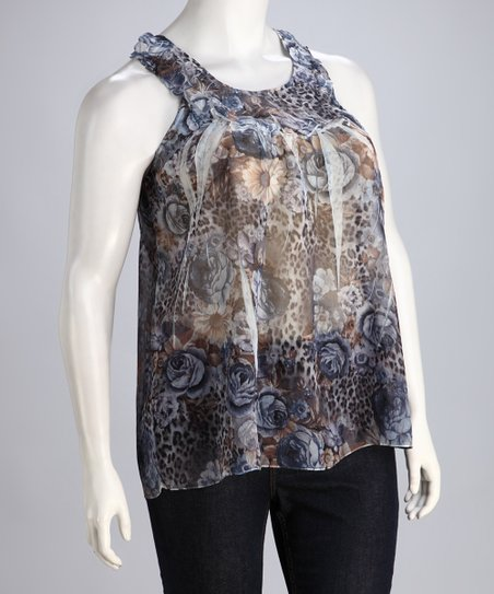 Blue Floral Sublimation Tank - Plus