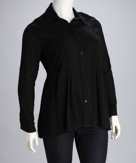Black Button-Up Blouse - Plus