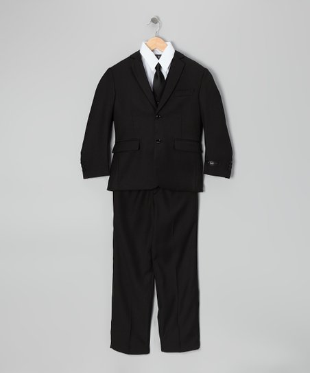 Black & White Five-Piece Suit Set - Toddler & Boys