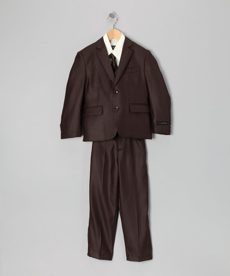 Brown & Off-White Five-Piece Suit Set - Toddler & Boys