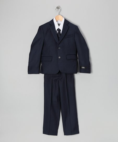 Navy & White Five-Piece Suit Set - Toddler, Boys & Husky