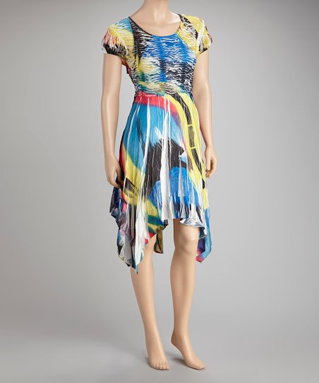 Blue & Yellow Sublimated Sidetail Dress