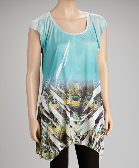 Blue Peacock Sublimated Sidetail Top
