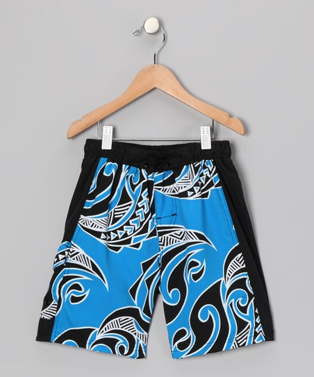 Blue & Black Beach Walk Swim Trunks - Boys
