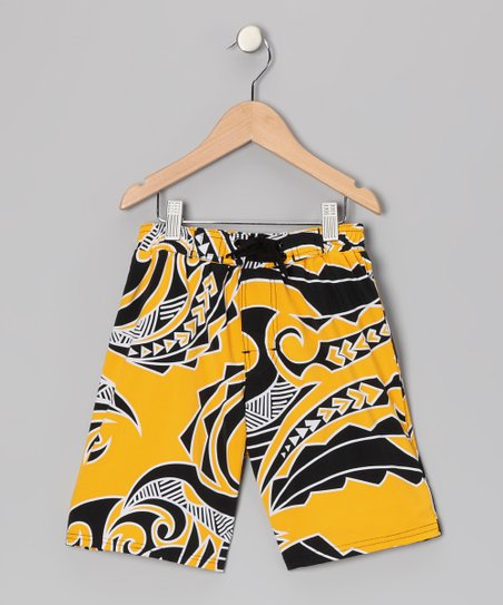 Yellow Swell Swim Shorts - Boys