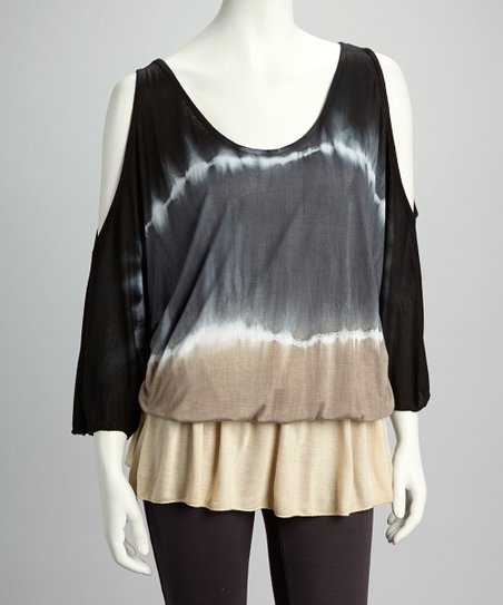 Black Tie-Dye Cutout Drop-Waist Tunic