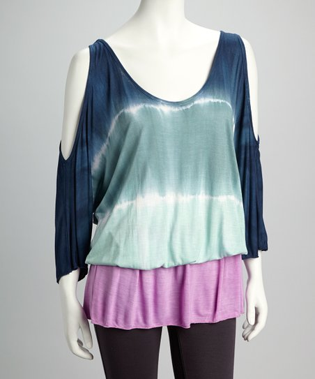 Navy Tie-Dye Cutout Drop-Waist Tunic