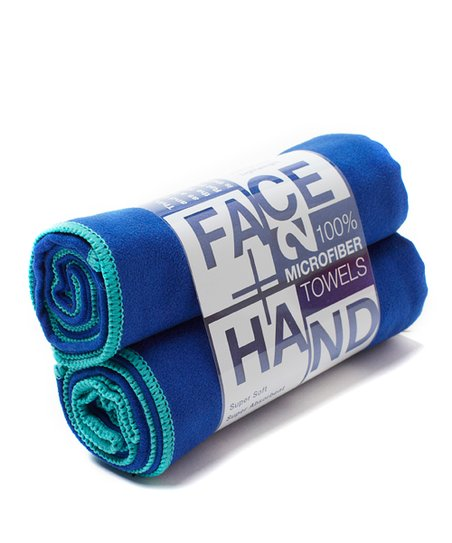 Ocean &amp; Navy Hand/Face Towel - Set of Two
