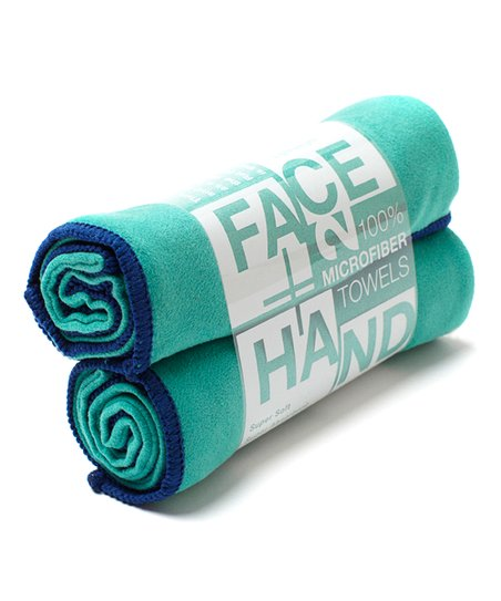 Sapphire &amp; Emerald Hand/Face Towel - Set of Two
