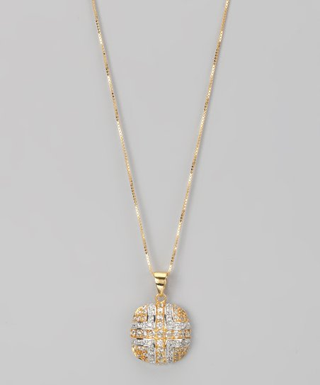 Yellow Gold & Sterling Silver Micro Pavé Square Pendant Necklace