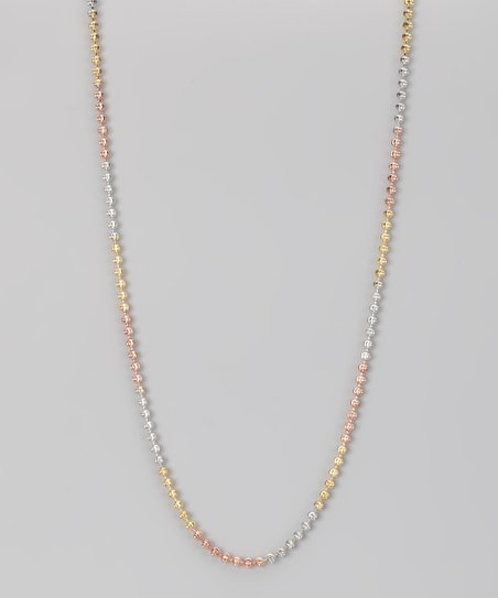 Sterling Silver & Gold Tri-Tone 3-mm Moon Chain