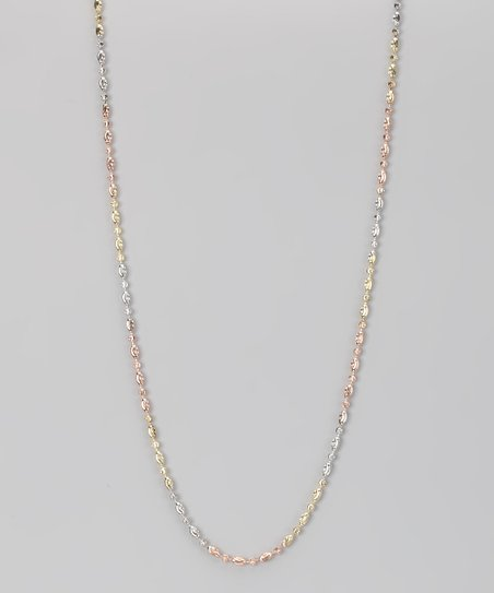 Sterling Silver & Gold Tri-Tone Round & Oval Moon Chain