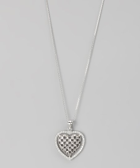 Gray Sterling Silver Micro Pav Heart Pendant Necklace