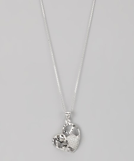 Sterling Silver Micro Pavé Cutout Heart Pendant Necklace