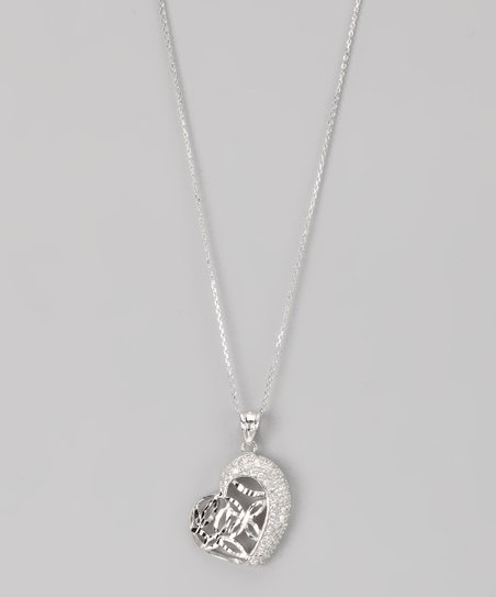 Sterling Silver Micro Pav Marquis Cutout Heart Pendant Necklace