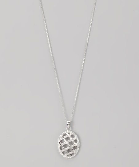 Sterling Silver Micro Pav Lattice Oval Pendant Necklace