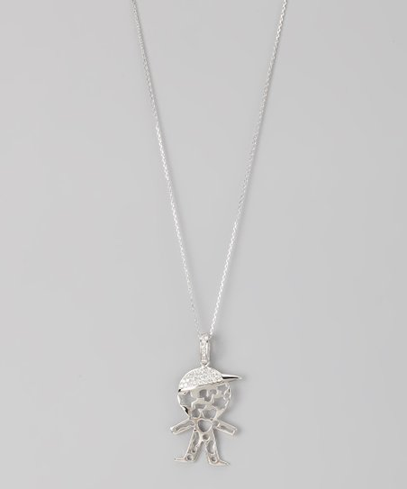 Sterling Silver Micro Pavé Cutout Little Boy Pendant Necklace