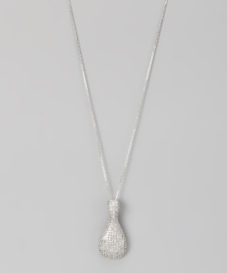 Sterling Silver Micro Pavé Bowling Pin Pendant Necklace