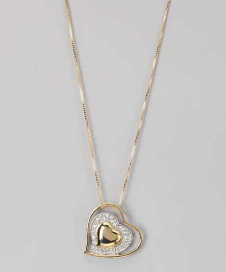 Gold & Sterling Silver Micro Pavé Layered Heart Pendant Necklace