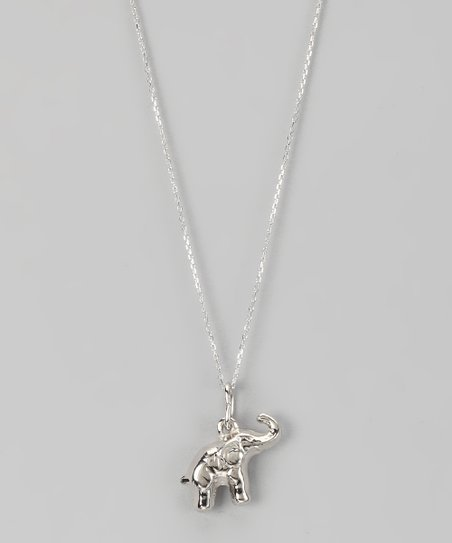 Sterling Silver Happy Elephant Pendant Necklace