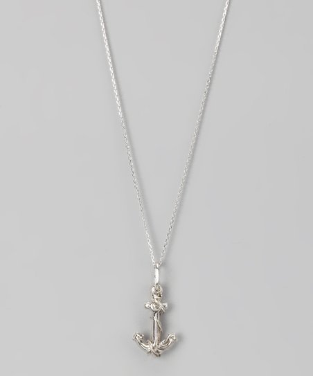 Sterling Silver Small Anchor Pendant Necklace