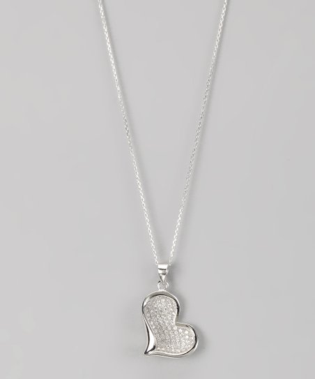 Sterling Silver Micro Pavé Sideways Heart Pendant Necklace