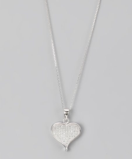 Sterling Silver Micro Pav Heart Pendant Necklace