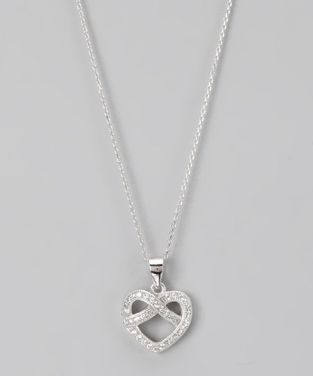 Sterling Silver Micro Pavé Woven Heart Pendant Necklace
