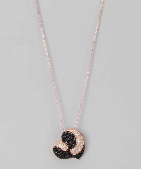 Black & Rose Gold Micro Pavé Curved Heart Pendant Necklace