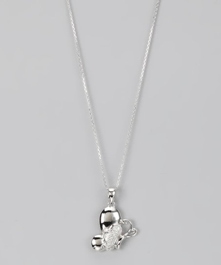 Sterling Silver Micro Pavé Sideways Butterfly Pendant Necklace