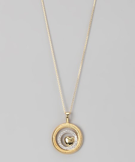 Yellow Gold Micro Pavé Layered Circle Heart Pendant Necklace