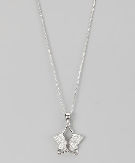 Sterling Silver Micro Pavé Cutout Star Pendant Necklace