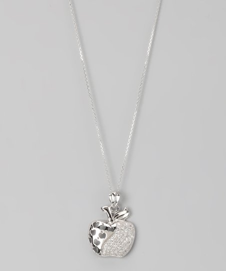 Sterling Silver Micro Pavé Apple Cutout Pendant Necklace