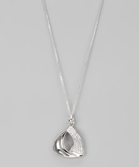 Sterling Silver Micro Pavé Abstract Triangle Pendant Necklace