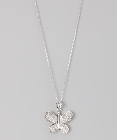 Sterling Silver Micro Pav Butterfly Pendant Necklace