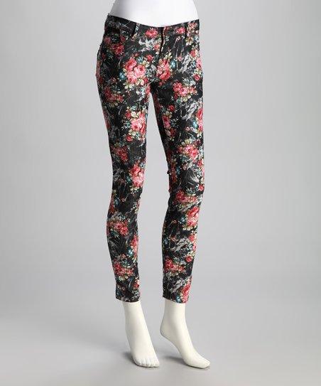 Black & Red Floral Skinny Jeans