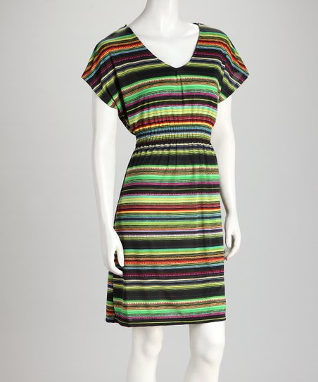 Green & Brown Stripe Dress