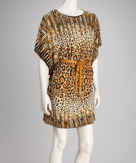 Brown Cheetah Cape-Sleeve Dress