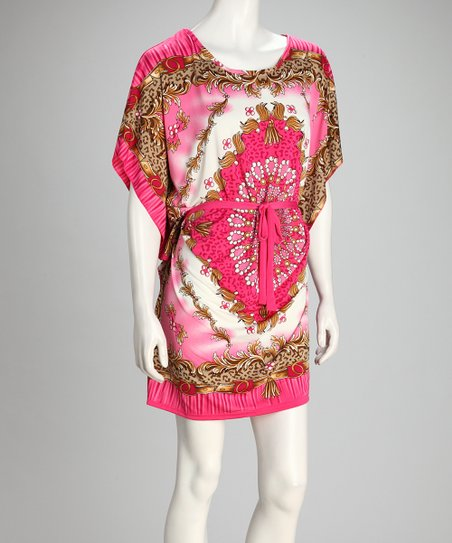 Pink & Gold Arabesque Cape-Sleeve Dress