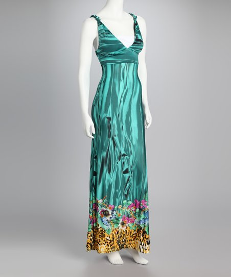 Teal Jungle Empire-Waist Maxi Dress