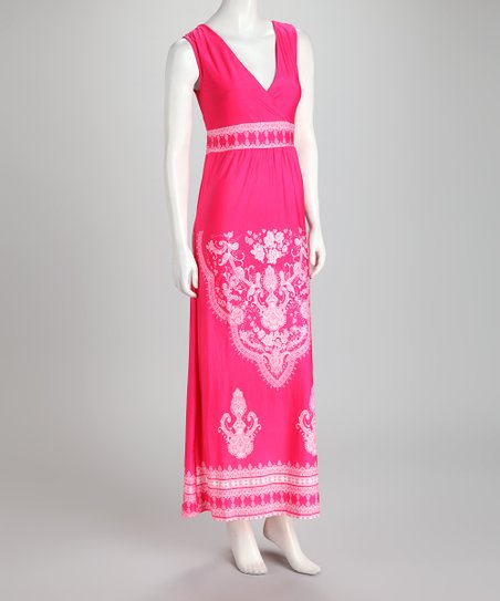 Fuchsia Embellished Surplice Maxi Dress