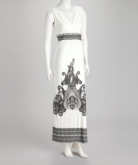 White Embellished Surplice Maxi Dress