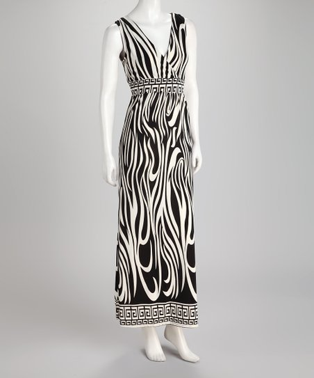 Black & White Zebra Surplice Maxi Dress