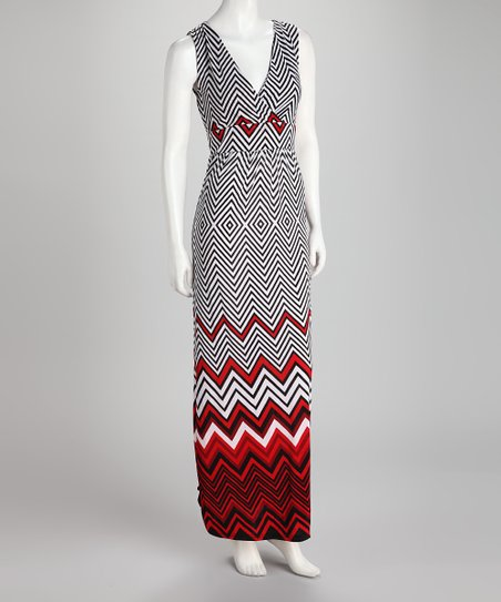 Black & Red Zigzag Surplice Maxi Dress