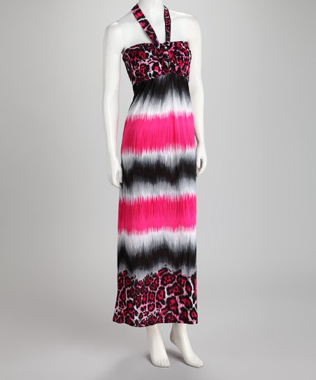 Pink & Black Tie-Dye Leopard Halter Maxi Dress