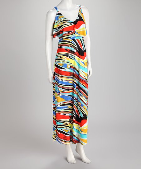 Red & Yellow Swirl Maxi Dress
