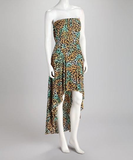 Cheetah Strapless Hi-Low Maxi Dress