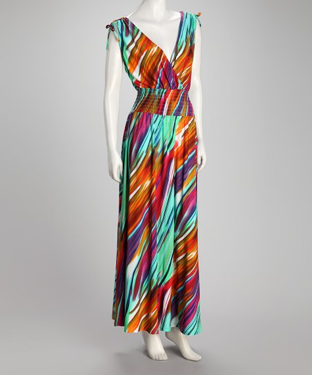 Turquoise &amp; Yellow Streak Shirred Plus-Size Maxi Dress