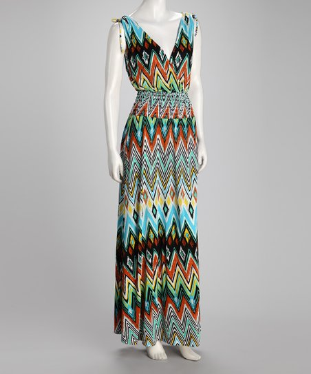 Blue Zigzag Shirred Plus-Size Maxi Dress
