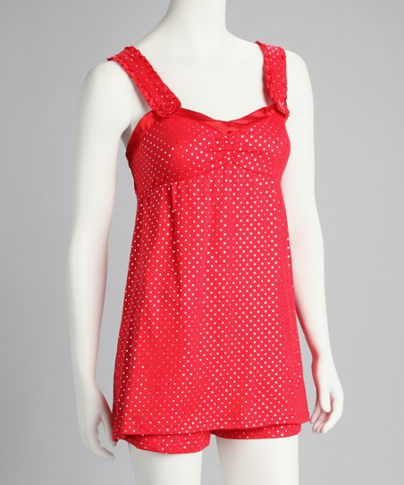 Red Metallic Polka Dot Pajama Set